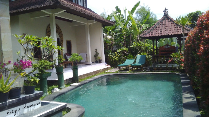 Egy kényelmes kis villa Ubudban, medencével, a dzsungel közepén